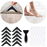 Danadout 34 PCS Rug Tape and Shower Stickers, Anti Curling Washable Removable Rug Gripper for Hardwood Floors, Non Slip Reusable Rug Pads with Safety Bathtub Strips