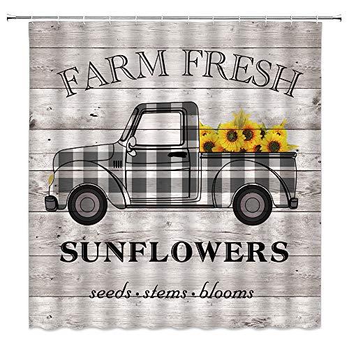 Farmhouse Truck Duschvorhang-Set, rustikales schwarz-weißes Büffelkaro auf Holzbrett Sonnenblume Vintage Western Sweet Farm Frühling Pflanze Stoff Badezimmer Vorhang-Set 177 x 178 cm mit Haken