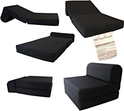 D&D Futon Furniture Black Sleeper Chair Folding Foam Bed Sized 6 X 32 X 70, Studio Guest Foldable Chair Beds, Foam Sofa, Couch, High Density Foam 1.8 Pounds.