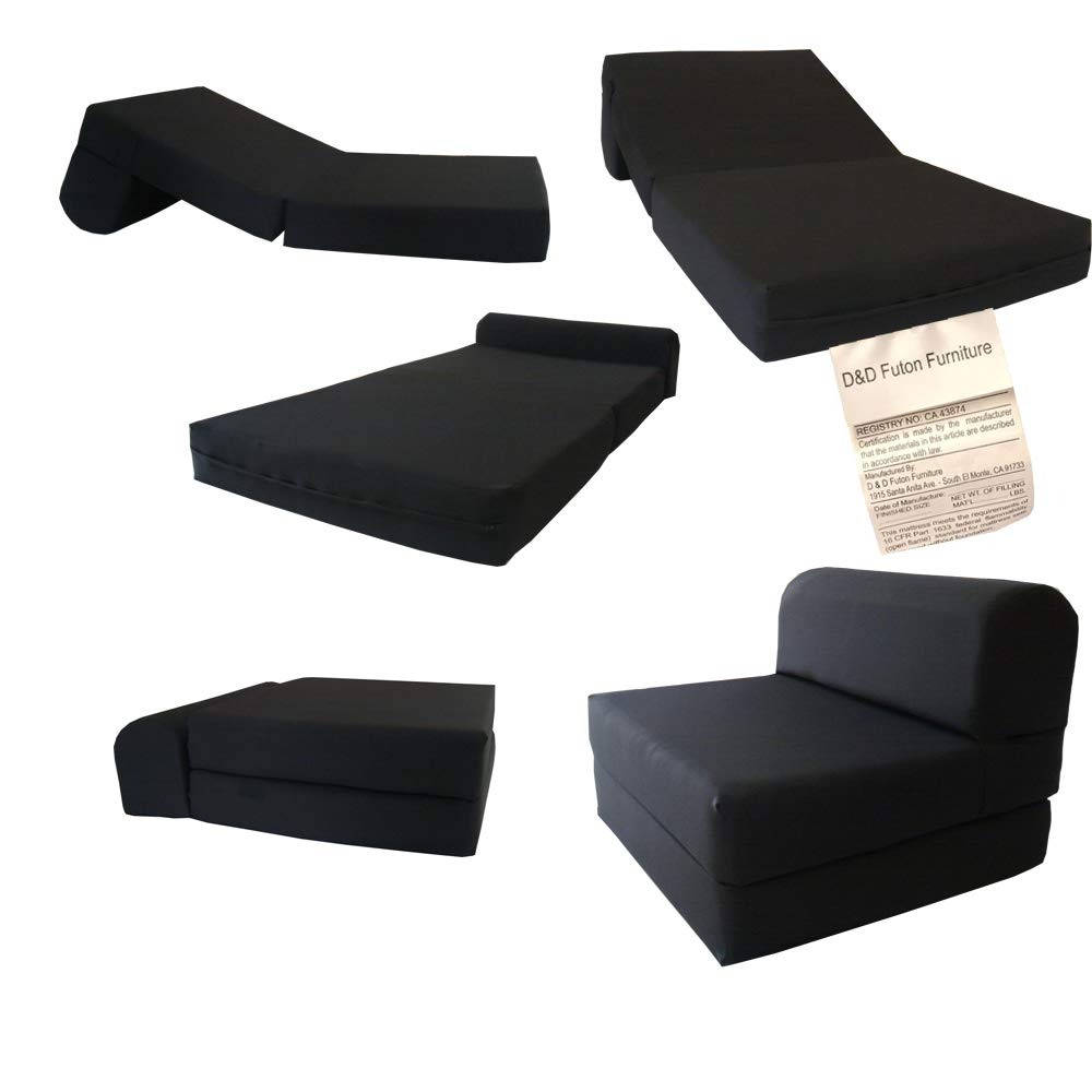 D D Futon Furniture Black Sleeper Chair Folding Foam Bed Sized 6 X