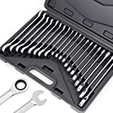 HORUSDY 20-Piece Ratcheting Wrench Set, SAE and Metric, Ratchet Wrench Set, They roll up neatly in an organizer box for storage in