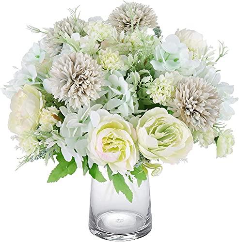 Beferr 3 unidades de flores artificiales de peonía, hortensias artificiales, flores de seda falsas, como decoración para el hogar, boda, decoración de mesa, arreglos florales (verde)