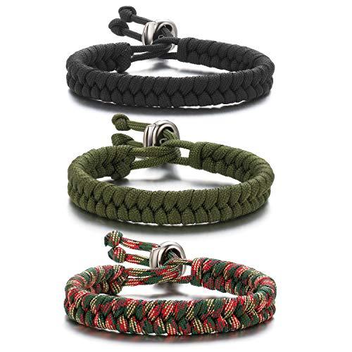 3Psc Paracord Survival Bracelet for Men Fish Tail Survival Bracelet Best Wilderness Survival Jewelry