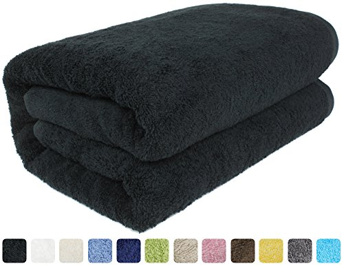 "SALBAKOS 40""x80"" Turkish Cotton Bath Sheet, Luxury, Eco-Friendly Large Oversized (40x80, Black)"