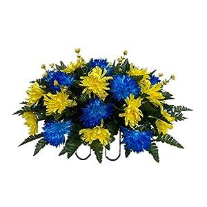 Blue, Yellow Cemetery Flower Arrangement, Headstone Saddle, Grave, Tombstone Arrangement, Cemetery Flowers SS4197