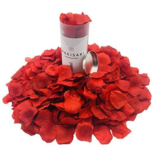 WAKISAKI (separato, deodorato) Petali di rosa finti artificiali per notte romantica, matrimonio, evento, festa, decorazione, alla rinfusa (1000 conte, rosso scuro)