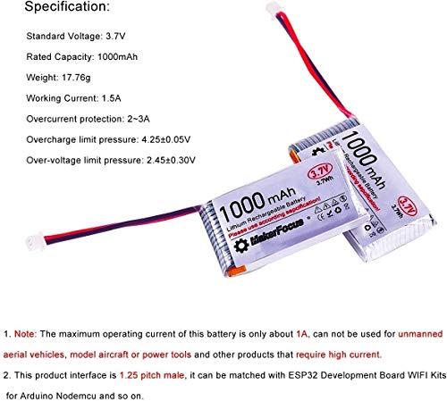 MakerHawk 3,7 V Lithium Akku 3,7 V 1000 mAh Lipo batterien mit Micro JST 1,25-Stecker für Arduino Nodemcu ESP32-Entwicklungsplatine (4 Pack) - 7