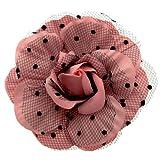 Acosta–Spilla/fermaglio per capelli in tessuto rosa e pois neri, a forma di fiore, c...