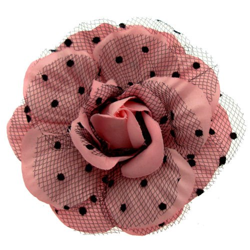 Acosta – Tissu Rose & Noir Polka Dot dentelle net – Corsage rose Broche fleur/pince à cheveux/Bibi/Accessoire – Boîte Cadeau
