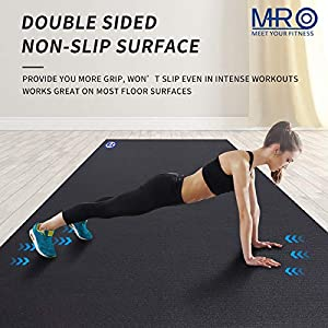 Premium Large Exercise Mat 9' x 6' x 7mm, High-Density Workout Mats for Home Gym Flooring, Non-Slip, Extra Thick Durable Cardio Mat, and Ideal for Plyo, MMA, Jump Rope - Shoe Friendly