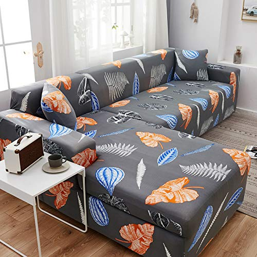 SSHHJ Nordic Leaf Pattern L-Shaped All-Inclusive Sofa Cover, Fashion Printed Stretch Sofa Chair Cover, Non-Slip, Anti-Wrinkle And Pet-Scratch Protection Sofa Cushion