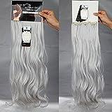 S-noilite Set 8pcs 60cm extension capelli clip nelle estensioni dei capelli della parte dei capelli ondulato o liscio pieno Testa vari colori grigio argento