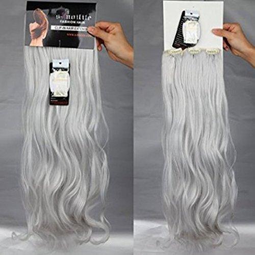 S-noilite 24  (60 cm) extensiones de cabello cabeza completa clip en extensiones de pelo Ombre ondulado rizado - Gris plateado