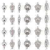 PandaHall 24 juegos de 6 cierres de filigrana estilo caja de cierre de perlas de filigrana chapado en platino de latón único filamento de joyería para hacer collares de perlas y pulseras