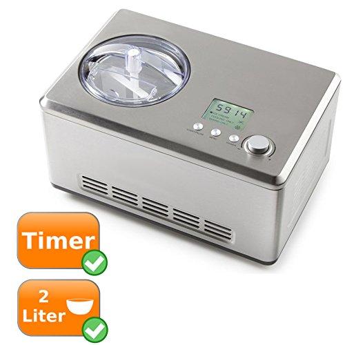 XL-Eismaschine für 2Liter Speiseeis, starker 180Watt Kühlkompressor, auch zur Herstellung von Gelato + Frozen Yoghurt ideal