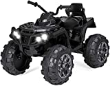 Dosi Best Choice Products 12V Kids Electric 4-Wheeler ATV Quad Ride On Car Toy w/ 3.7mph Max Speed, Treaded Tires, LED Headlights, AUX Jack, Radio (Black)