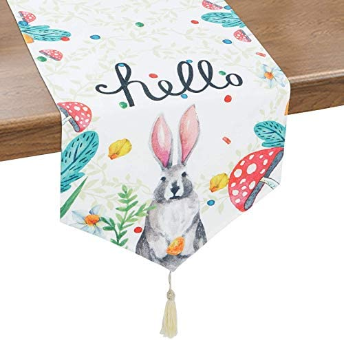 Alishomtll Easter Table Runner with Tassels Spring Table Runner Watercolor Bunny Mushroom Floral product image