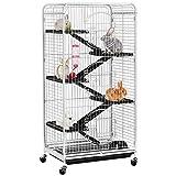 Yaheetech Grande Cage pour Rongeurs/Rats/Furets/écureuils/Chinchillas - 6 Niveaux 64 x 44 x 131 cm Blanc