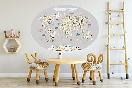 Menudos Cuadros Vinilo Decorativo Infantil mapamundi Ovalado Gris de Animales y monumentos...