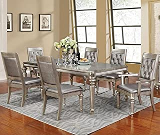 Coaster Home Furnishings Bling Game 7-Piece Dining Set with Rectangular Extension Leaf Table Metallic Platinum