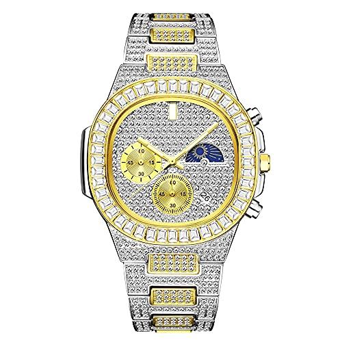 KLFJFD Personalidad Hip-Hop Rhinestone Multifuncional Hombres Calendario Impermeable Reloj De Cuarzo Moda Casual Moda Regalo Reloj
