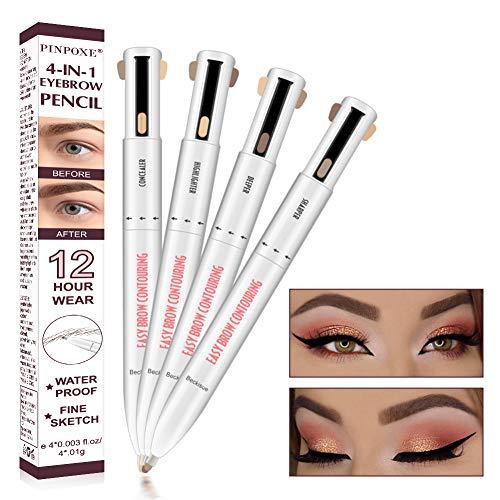 Crayon à sourcils, stylo de tatouage pour sourcils, crayon pour sourcils de tatouage, sourcil de tatouage avec 4 couleurs, crayon à sourcils permanent résistant aux taches, Imperméable et durable