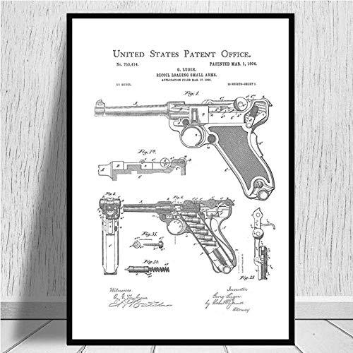 Impresión De La Lona Gun Blueprint Luger Pistol Patent Chart Póster Moderno Cuadro De Arte De Pared Pintura En Lienzo Para La Decoración Del Hogar De La Habitación, Como Se Muestra, 60X90Cm Sin