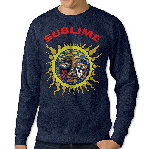 FHFHQ Men's Crew Neck Sweatshirt Sublime Band Sun Logo Navy Size L