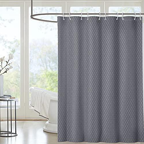 i@HOME Duschvorhang grau 180*200cm Anti-Schimmel Wasserabweisend Waschbar Anti-Bakteriell Duschvorhäng aus Polyester Badvorhang mit 12 Duschvorhängeringen