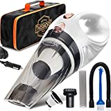 THISWORX Car Vacuum Cleaner - Portable, High Power, Handheld Vacuums w/ 3 Attachments, 16 Ft Cord & Bag - 12v, Auto Accessories Kit for Interior Detailing (White)