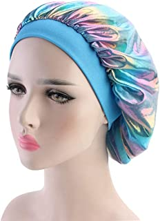 Icevog Silky Durags Cap and Satin Hair Bonnet Sleeping Hat Holographic Do Rags Set for Mens Womens 360 Waves