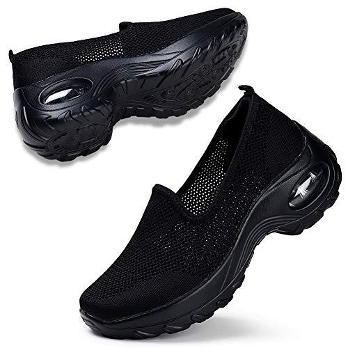 STQ Dame Slip On Bequeme Sportschuhe Mesh Atmungsaktiv Walking Schuhe Fashion Air leichte Fitness Gym SportShuhe(Schwarz 39)
