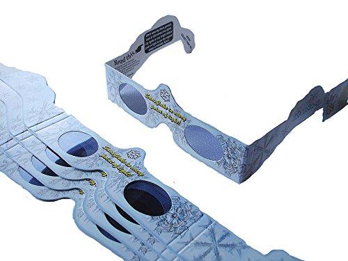 5 Stück HoloSpex 3D Brille Snow Flake, Schneeflocke, Weihnachten (Happy Eyes, Holiday Specs) / Weihnachtsbrille, Effektbrille, Partybrille, Spaßbrille