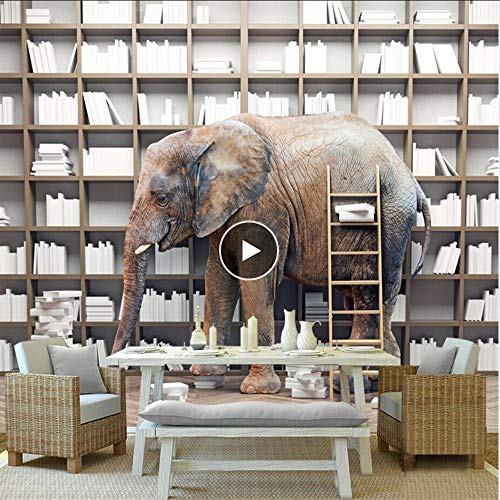 Cczxfcc behang foto op maat foto behang 3D boekenplank olifant voor kinderen studie slaapkamer tv achtergrond woonkamer 400 cm.