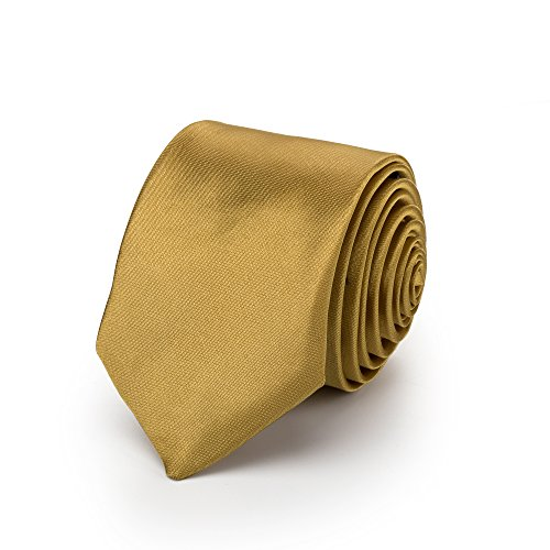 Rusty Bob Krawatte Schmal/Dünn 3cm-5cm für Herren [Auch für Kinder/Jungen] (Uni,Nicht Gestreift) aus Polyester glänzt Wie Seide (Gold)