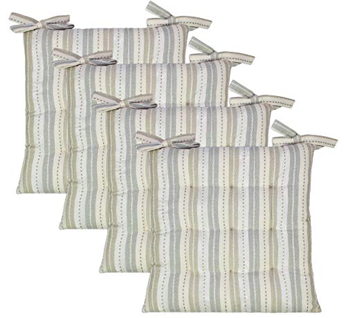 COTTON CRAFT - 4 Pack Salsa Stripes with Metallic Silver Chairpad -Grey Silver - 17x17 Inches- Dining Chair Pad Cushion with Ties- Classic Design- Easy Fit to Chair