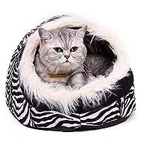 ペットハウス 猫の家 暖かい足のスタイルの猫の洞窟のベッドペットの猫の家素敵な柔らかいペットの猫のクッション ペットの犬のベッドの家の製品ゼブラストリップ40 * 36 * 25 Cm