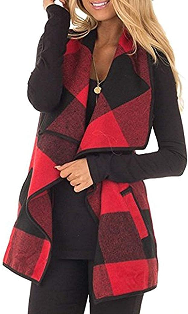 Rvshilfy Women's Color Block Lapel Open Front Sleeveless Plaid Vest Cardigan with Pockets