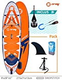 ZRAY SUP X-Rider 9' - Stand Up Paddle Gonflable - Charge Max 85 Kg - 275 x 71 x 13 cm - Dropstitch Simple Couche - Unisexe - Orange
