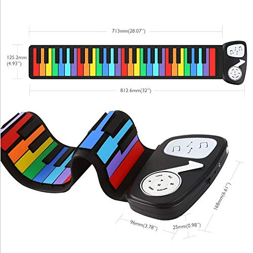 Elektronische Handpiano 49-key Scrollable toetsenbord Piano MIDI Flexibele draagbare digitale elektronische piano Opvouwbaar Silicone Piano Ondersteuning Microfoon Playback Cadeaus Voor Muziekliefhebb