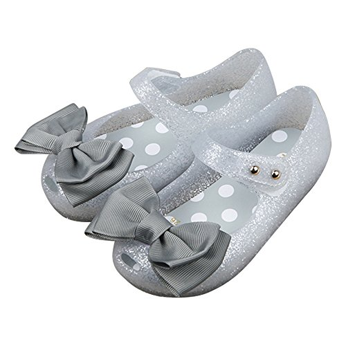 iFANS Girls Princess Mary Jane Cloth Bow Jelly Shoes Flats(Toddler Little Kids) Silver, 9 Narrow Toddler