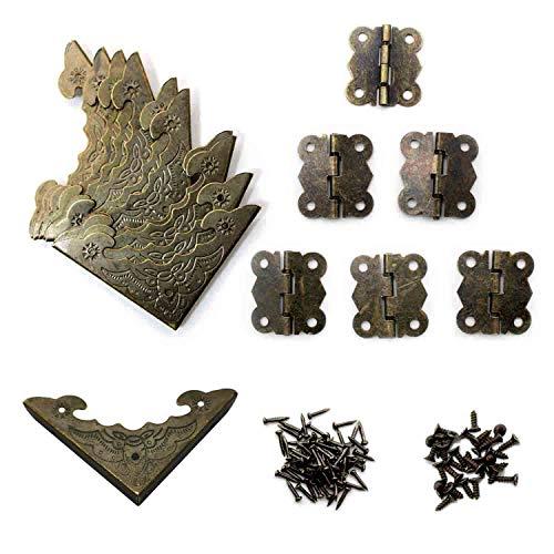 WJUAN 12 Piezas de Caja de Madera de Diseño Antiguo Esquinas Decorativas y 6 Piezas de Bisagra Vintage (un ángulo de Rotación de 180 Grados), con Suficientes Clavos y Tornillos de Bronce