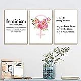 WLHRJ Cuadro de póster 3 Piezas 40x60cm póster sin Marco Feminismo Poder Femenino Citas Inspiradoras Flor Feminismo Logotipo Femenino Arte Pintura niña decoración