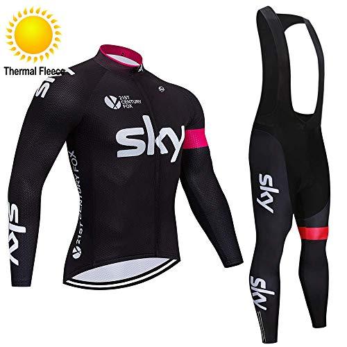 TOPBIKEB Abbigliamento Ciclismo da Uomo Termico, Jerseys per Uomo Manica Lunga Tuta Pantaloncini Ciclismo Uomo Inverno
