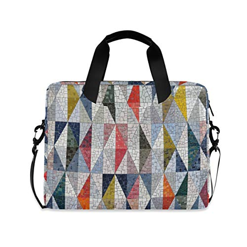 Colorful Triangle Pattern 16 inch Laptop Shoulder Bag Travel Laptop Briefcase Carrying Messenger Bags