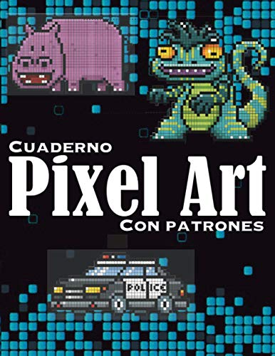 Cuaderno - Pixel art - Con Patrones: Cuaderno de dibujo de pixel art para niños y adultos - Cuaderno grande de pixel art cuadrado. Cuaderno de dibujo ... de colorear pixel art para niños y adultos