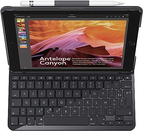 Logitech SLIM FOLIO für iPad der (5. und 6. Generation) Tastatur-Case mit Bluetooth (Modell: A1822, A1823, A1893, A1954) Deutsches QWERTZ Layout, Schwarz