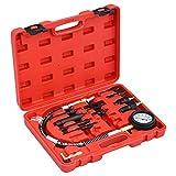vidaXL Kit de Comprobación de Compresión de Motor Diésel 12 Piezas Medidor Comprobadores Herramientas Coche Manómetro Inyectores Adaptador Estuche