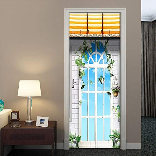 BXZGDJY 3D Deur Plakken Mural Zelfklevende Behang Poster Film - Europese Tuindeuren en Windows 2 Stuks/Set van DIY Sticker Woonkamer Slaapkamer Children's Restaurant Office Bar Deur Art Deco 80x200cm