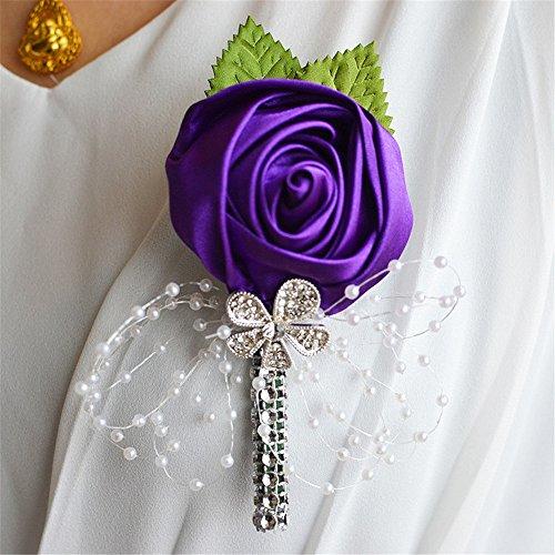 Fouriding 2 PCS Boutonnière Mariage Fleur Rose Boutonnière Corsage Costume Accessoire Fête de Mariage pour Homme Femme Violet